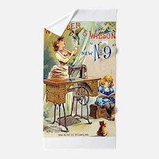 Sewing Machine, Vintage Poster Beach Towel