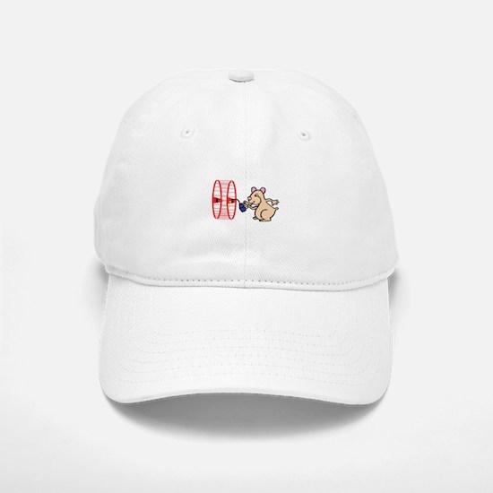 Hamster with Squeaky Wheel Baseball Baseball Cap