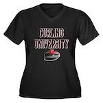 Curling University Women's Plus Size V-Neck Dark T