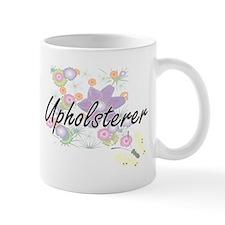 Upholsterer Artistic Job Design with Flowers Mugs