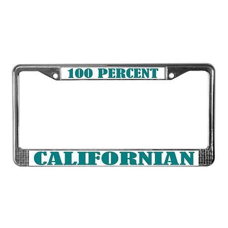 100 Percent Californian License Plate Frame