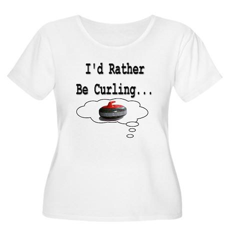 I'd Rather Be Curling.. Women's Plus Size Scoop Ne