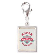 Super 2nd Grade Teacher Silver Portrait Charm