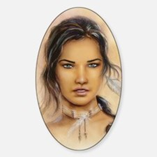 Native American Woman Sticker (Oval)