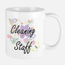 Cleaning Staff Artistic Job Design with Flowe Mugs