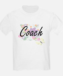 Coach Artistic Job Design with Flowers T-Shirt