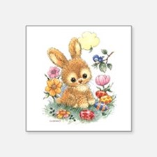 Cute Easter Bunny With Flowers And Eggs Sticker