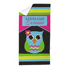 Custom Gift For Kids Owl Beach Towel