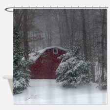 Red Barn in the Snow Shower Curtain