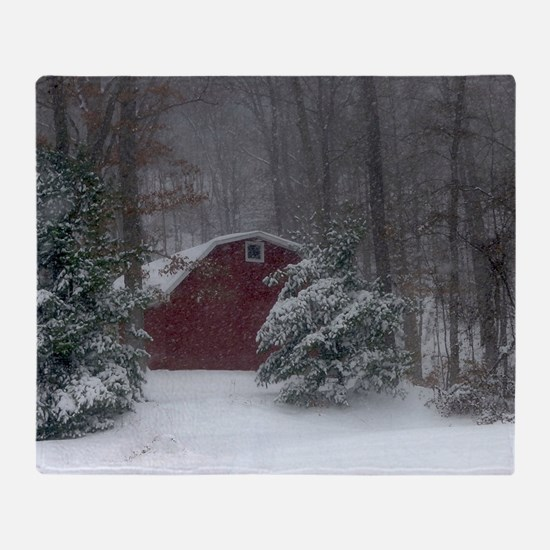 Red Barn in the Snow Throw Blanket