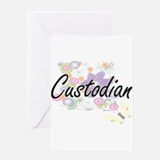Custodian Artistic Job Design with Greeting Cards