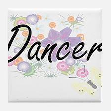 Dancer Artistic Job Design with Flowe Tile Coaster