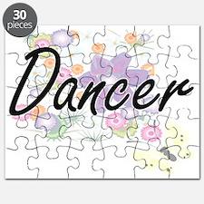 Dancer Artistic Job Design with Flowers Puzzle