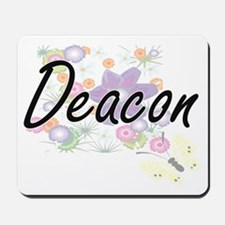 Deacon Artistic Job Design with Flowers Mousepad