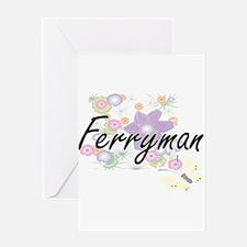 Ferryman Artistic Job Design with F Greeting Cards