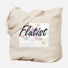 Flutist Artistic Job Design with Flowers Tote Bag