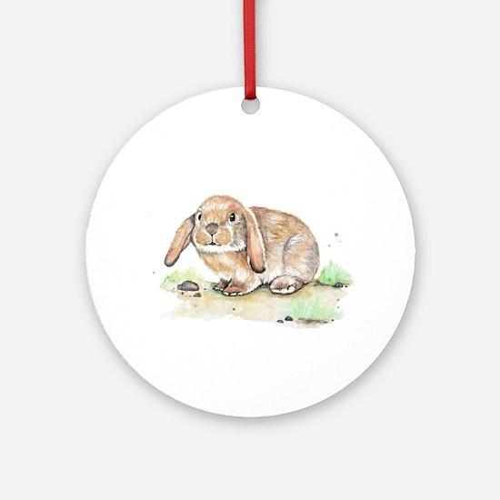 Watercolor Bunny Round Ornament
