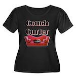 Couch Curler Women's Plus Size Scoop Neck Dark T-S