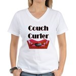 Couch Curler Women's V-Neck T-Shirt