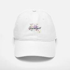 Genealogist Artistic Job Design with Flowers Baseball Baseball Cap