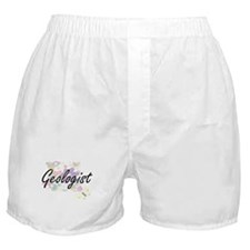 Geologist Artistic Job Design with Fl Boxer Shorts