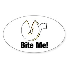 Bite Me Fortune Cookie Oval Decal