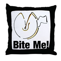 Bite Me Fortune Cookie Throw Pillow