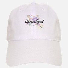 Gynecologist Artistic Job Design with Flowers Baseball Baseball Cap