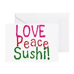 Love Peace Sushi Greeting Card