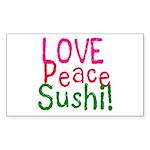Love Peace Sushi Rectangle Sticker