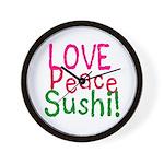 Love Peace Sushi Wall Clock