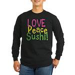Love Peace Sushi Long Sleeve Dark T-Shirt