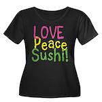 Love Peace Sushi Women's Plus Size Scoop Neck Dark