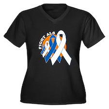 Fight ALS Women's Plus Size V-Neck Dark T-Shirt