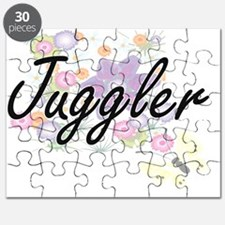 Juggler Artistic Job Design with Flowers Puzzle