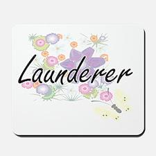 Launderer Artistic Job Design with Flowe Mousepad
