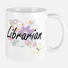 Librarian Artistic Job Design with Flowers Mugs