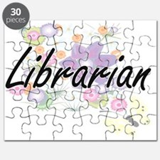Librarian Artistic Job Design with Flowers Puzzle