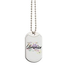 Librarian Artistic Job Design with Flower Dog Tags