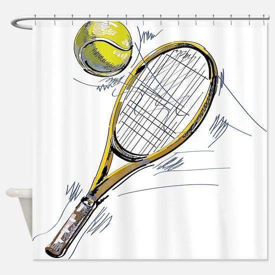 Tennis bat Shower Curtain