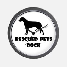 Rescued Pets Rock Wall Clock