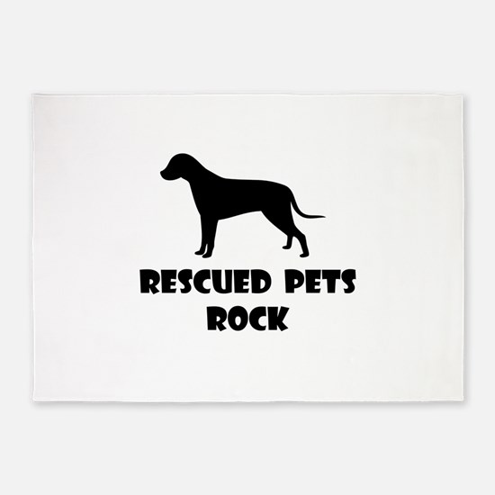 Rescued Pets Rock 5'x7'Area Rug