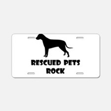Rescued Pets Rock Aluminum License Plate