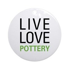 Live Love Pottery Ornament (Round)