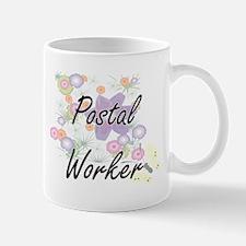 Postal Worker Artistic Job Design with Flower Mugs