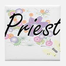 Priest Artistic Job Design with Flowe Tile Coaster