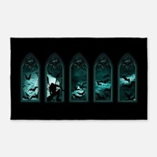 Gothic Bat Windows Area Rug