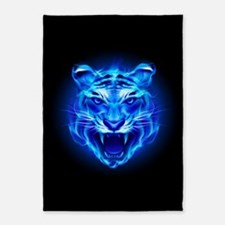 Blue Fire Tiger Face 5'x7'Area Rug