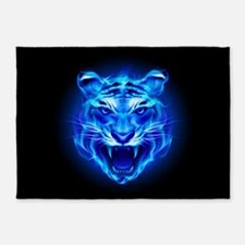 Blue Fire Tiger Face 2 5'x7'Area Rug