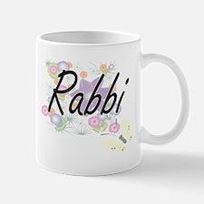 Rabbi Artistic Job Design with Flowers Mugs